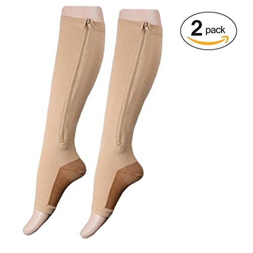 Lingssss Zip Compression Socks Medical, 2 Pair Toeless Nurse Compression Socks with Zipper Easy on off 15-20 mmHg for Varicose Veins, Edema, Swollen or Sore Legs (nude copper, S/M)