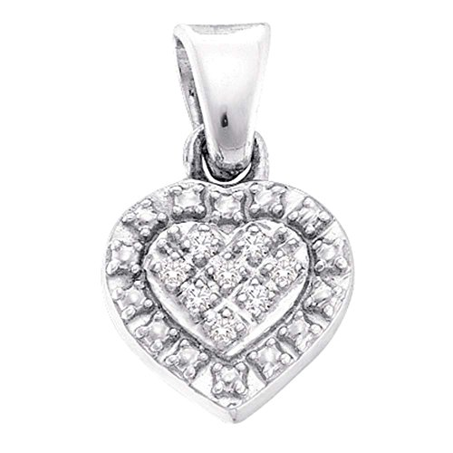 Sterling Silver Womens Round Diamond Small Heart Pendant .03 Cttw