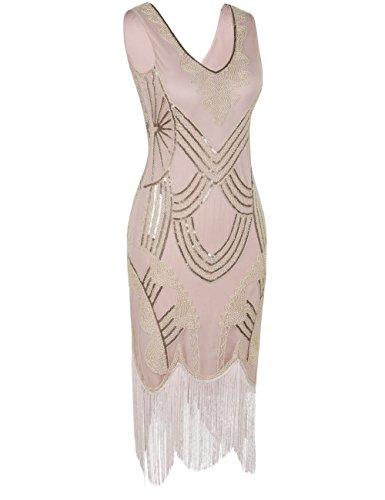 Floreale Da Kayamiya Motivo Abito Perline '20 Paillettes Stile Con Retrò Champagnerfarben Anni Donna wrPxvWwCq5