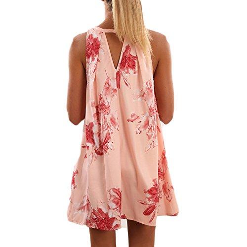 Damen V-Ausschnitt ärmellos print loose beiläufige Minikleid Vest Kleid beachwear Strandkleider Freizeitkleid