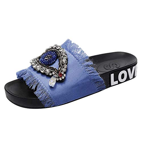 JJLIKER Women Rhinestone Crystal Eyes Denim Slippers Fashion Fringe Outdoor Flip Flops Low Heel Peep Toe Sandals