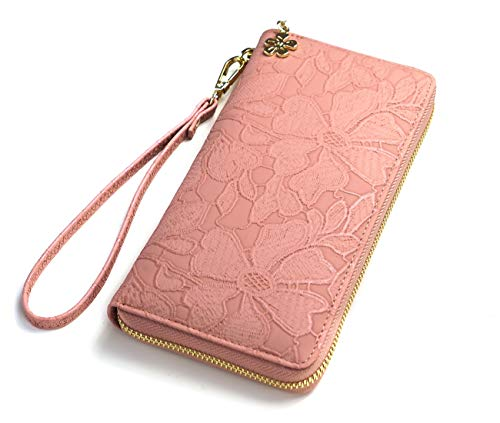 Women's Wallet soft leather wristlet wallet Phone holder designer Ladies Clutch Long Purse large Zipper wallet with Wrist Strap pink