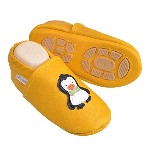 Liyas Hausschuhe Lederpuschen mit Teilgummisohle - #621 Pinguin in goldgelb Goldgelb