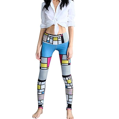 GBSELL Women Geometry Print Sports Gym Yoga Workout Athletic Leggings Pants (Colorful Grid, M)