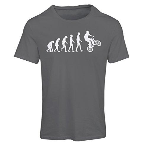 T Shirts for Women Human Evolution and Bike - Bicycling - Bicycle Accessories, Cycling Apparel (Medium Graphite Multi Color)