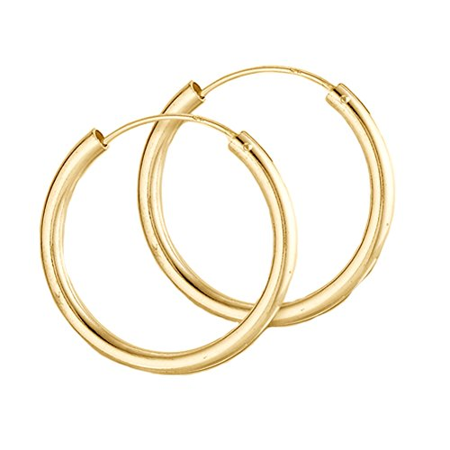 10k Yellow Gold 12mm Endless Round Tube Hoop Earrings (Gold Hoop Earrings 10k)