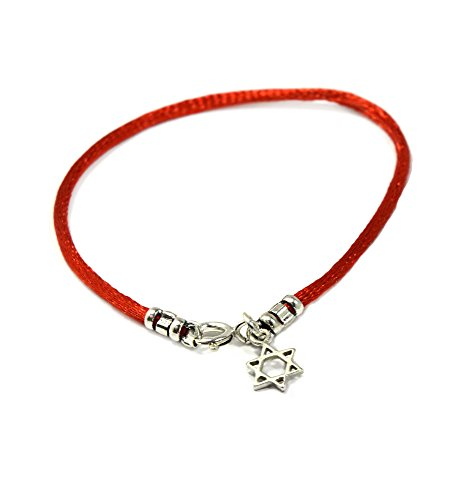 (RED String Bracelet with Sterling Silver Star of David on for Women - Size 7 Inches)
