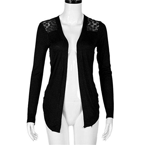 Punto De Blusas Cardigan Manga Ganchillo Negro Prendas Mujeres Larga x6xwaPOt