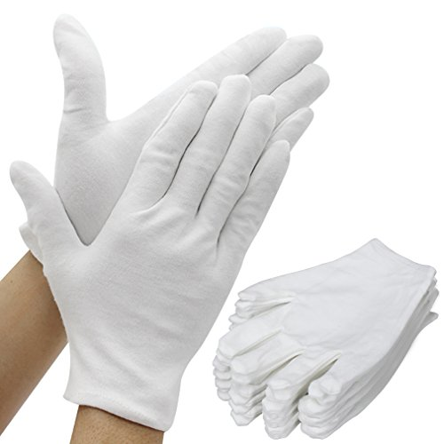 Amariver White Cotton Gloves, 6 Pairs 8.6 Large Size Thicker Works Lining Gloves for Coin Jewelry Silver Inspection Formal Marching Band Parade, 12 Pieces Gloves in Total