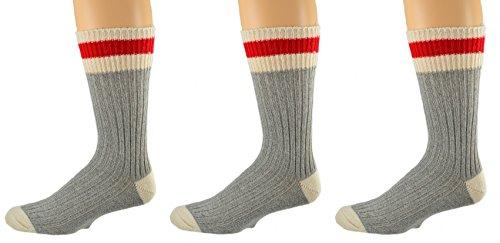 Sierra Socks 3 Pair Pack Wool Striped Boot Work Men's Socks M6400 (Sock Size 10-13, Shoe Size 9-13, Grey)