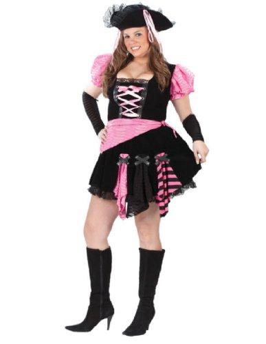 FunWorld Women's Womens Plus Pink Punk Pirate, Black, 16W-24W -