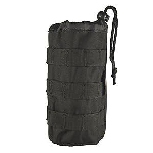 Cevinee™ Ultra-light Tactical MOLLE Water Bottle Pouch, Drawstring Open Top & Mesh Bottom Travel Water Bottle Bag - Black