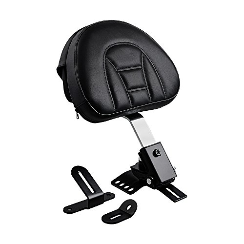 Adjustable Plug-In Rider Driver Backrest Kit for 1997-2017 Harley Touring One-Piece Slotted Seat