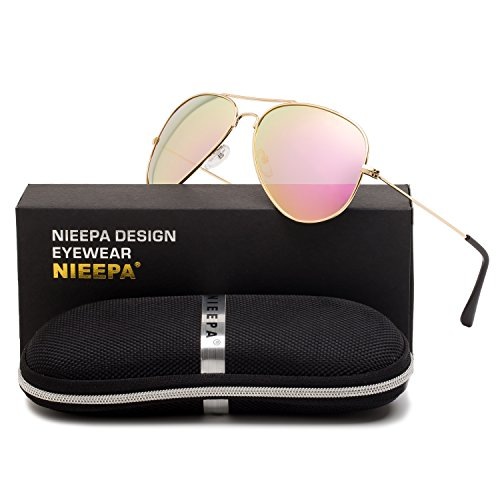 Aviator Polarized Sunglasses Classic Metal Frame TAC Lenses Driving Sun Glasses Retro Mens Womens Eyewear UV400 Protection Pink Lens/Gold Frame