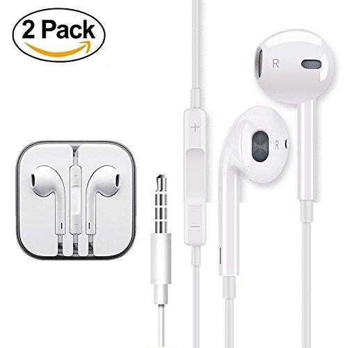 2 PACK Earphones Earbuds Headphones For Apple Headphones Iphone Headphones With Microphone Stereo Sound Mic Remote...