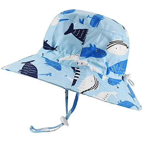 Baby Sun Hat Adjustable - Outdoor Toddler Swim Beach Pool Hat Kids UPF 50+ Wide Brim Chin Strap Summer Play Hat (19.7