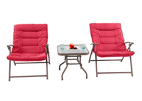 PHI VILLA Patio 3 PC Soft Padded Folding Chair Set Cushioned Chairs Outdoor Furniture, Red by PHI VILLA