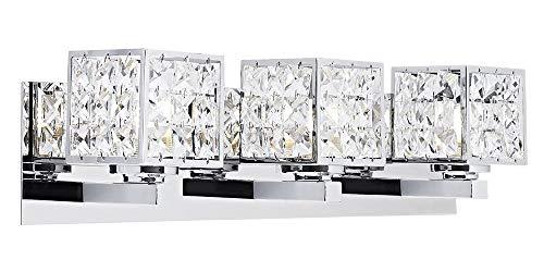 Modern Chrome Bath Vanity Wall Light Fixture with Crystal Glass DÃcor by Happy Homewares