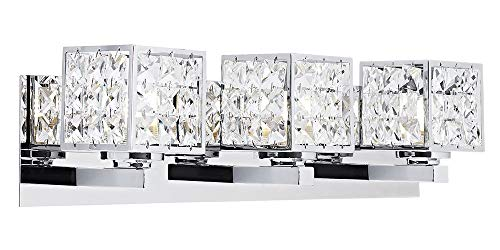 - Modern Chrome Bath Vanity Wall Light Fixture with Crystal Glass DÃcor by Happy Homewares