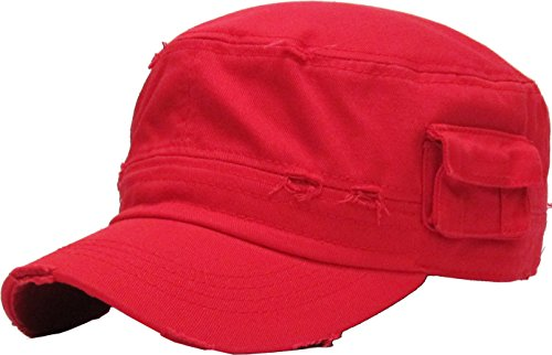 Red Fatigue Cap (KBK-1465 RED L Vintage Distressed Cadet Army Cap Basic Everyday Military Style Hat)