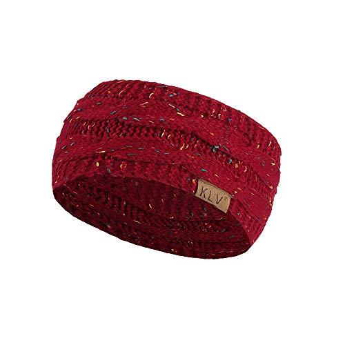 Men Women Hair Band Turban Hair Ball Knitting Headband Elastic Handmade Sport (Wine Red, Free)