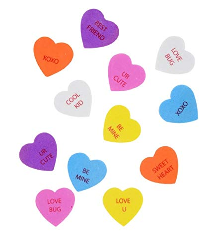 A&T Designs Valentine's Day Conversation Hearts - Pack of 90 pc Heart Foam Stickers - Perfect for Crafting, Decorating, Gift Giving
