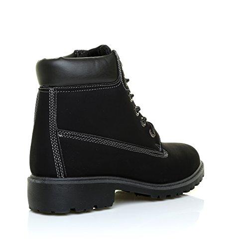 SASHA schwarz kustleder Leder Schnürbar Wandern Style Stiefeletten