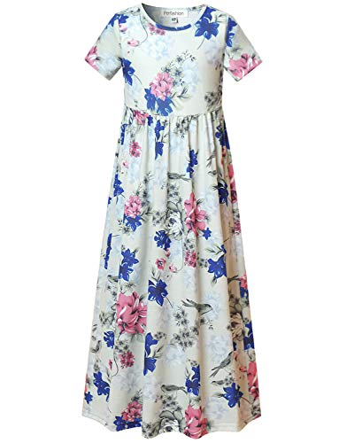 Maxi Dress for Girls Elastic Waist Maxi Long Dress?with -