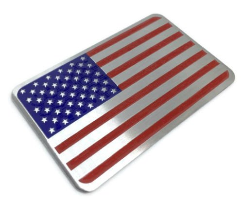 "American US Flag Decal Sticker | Emblem Made From Aluminum Alloy perfect for any vehicle, truck, car, motorcycle, RV, scooter, or SUV 3.25"" x 2"""