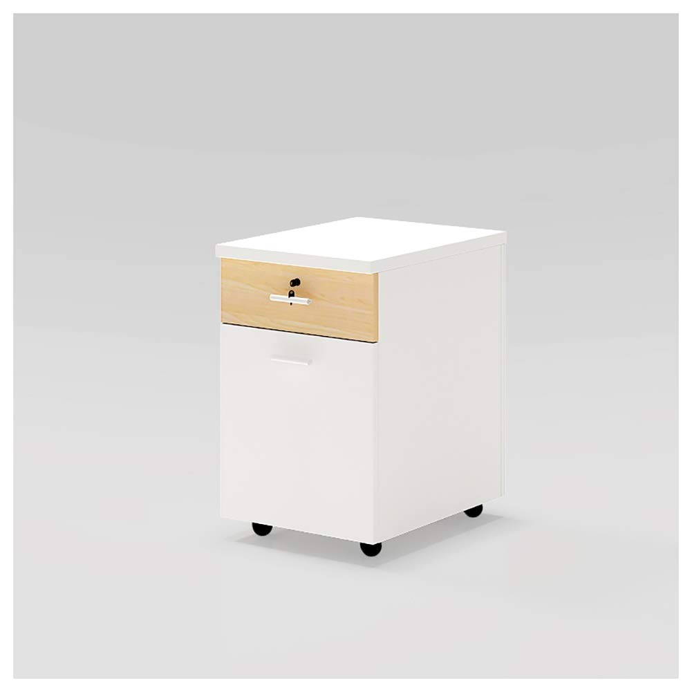 RRH-3 Drawer Wooden Mobile File Cabinet, File Cabinet, Casters Do Not Need to Be Assembled, File Cabinet, Office with Lock Storage Cabinet, Metal File Cabinet Finisher, for Office Use by RRH