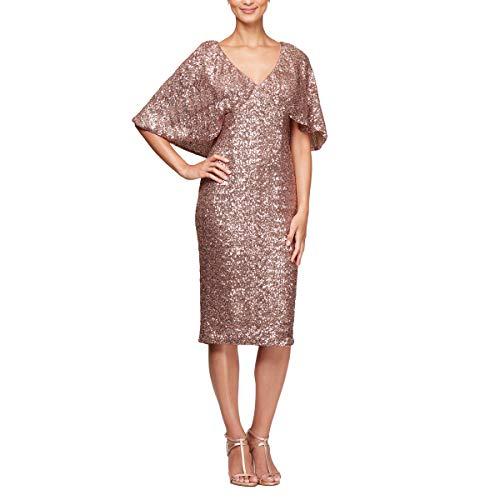 Alex Evenings Women's Micro-Pleated Column Dress with Beaded Neckline, Rose Gold, 14