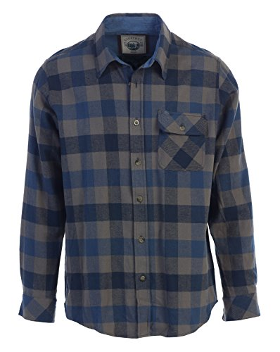 Gioberti Mens Long Sleeve Flannel Shirt with Corduroy Contrast