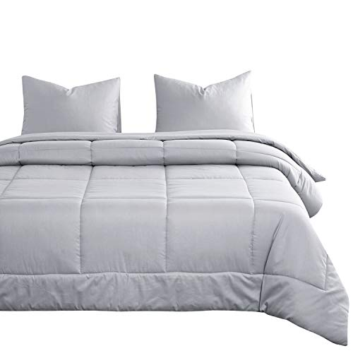 Wake In Cloud - Gray Cotton Comforter Set, Plain Solid Light Grey Color with Box Stitching, 100% Cotton Fabric with Soft Microfiber Inner Fill Bedding (3pcs, Queen Size)