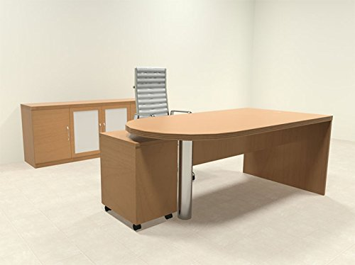 3pc Modern Contemporary Executive Office Desk Set, (D28 Glasses)