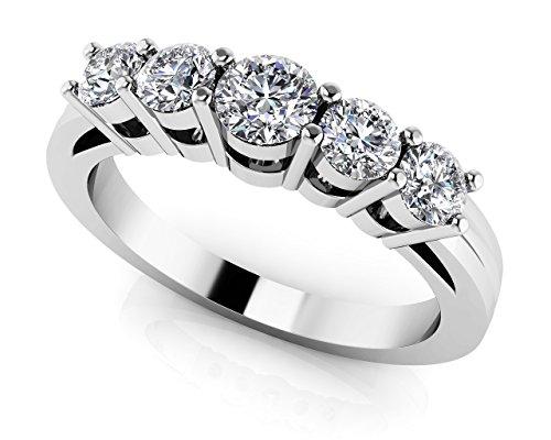 Or blanc 14K cinq Échelle de diamant Bague