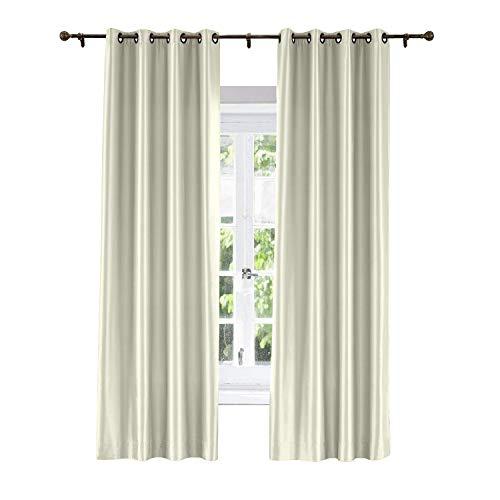 ChadMade Elegant Vintage Polyester Cotton Silk Solid Curtain Ivory 120