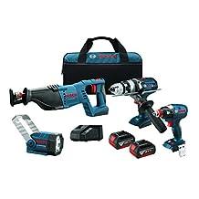 "Bosch CLPK414-181 18V 4-Tool Combo Kit with 1/2"" Hammer Drill/Driver, Socket Ready Impact Driver, Reciprocating Saw and Flashlight"
