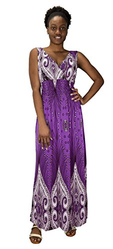 peach couture Womens Paisley Print Smocked Waist Surplice Bodice Tank Maxi Dress Boho Purple (Surplice Tank Dress)