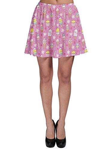 Cowcow para mujer falda skater de helados y paletas, XS-3X L Rosa