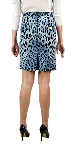 Dolce & Gabbana Women's Denim Skirt Leopard print Light Blue