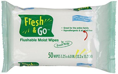 Fresh N' Go Adult Moist Wipes, Travel/Refill Toilet Tissue for Travel or Refill, 50-Count Packages (Pack of 12) Moist Toilet Wipes