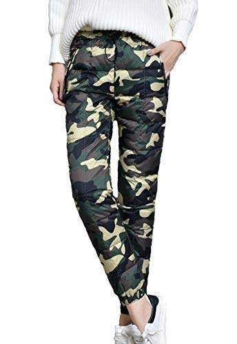 - Flygo Women's Packable Down Velet Wadded Pants Warm Snow Trousers (X-Small, Camo)