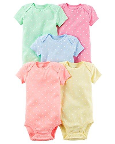 5 Pack Bodysuit Set (William Carter Girls 5 Pack Short Sleeve Bodysuit Undershirt Set Polka Dots, 18 Months)