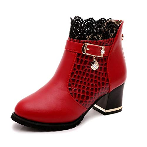 Women's High Heels Ankle Booties Fall Winter Vintage Leather Ankle Lace Short Boots Sexy Buckle Round Head Casual Shoes Red