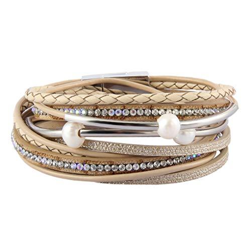 Pearl Wrap Around (XiaoMtou Leather Cuff Bracelets Women Handmade Multi-Layer Pearl Braided Bangle Boho Crystal Wrap Bracelet Jewelry (Beige))
