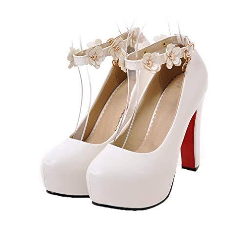 Bianco Ballet Flats AllhqFashion Fibbia Luccichio Alto FBUIDD006121 Puro Tacco Donna AP4Yqxz