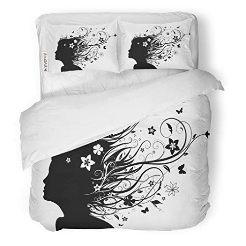 Semtomn Decor Duvet Cover Set King Size Abstract Young Girl Face Silhouette in Profile Long 3 Piece Brushed Microfiber Fabric Print Bedding Set Cover]()