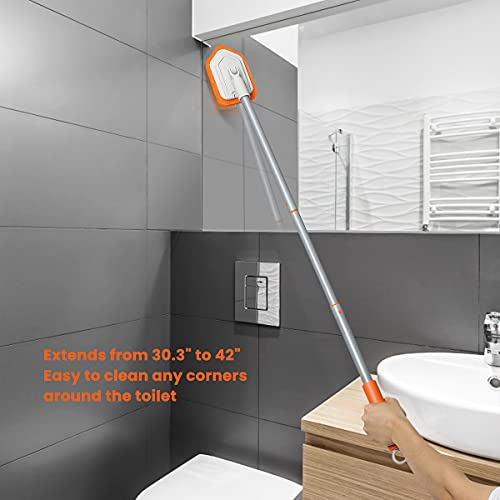 Shower Scrubber Tub and Tile Scrubber with Extendsion 42'' Long Handle Bathroom Bathtub Scrubber Brush Cleaner for Cleaning Bath Tub Shower 2 PCS