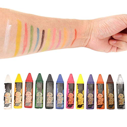 12 Colors Face and Body Crayons Paint Kit, Non-Toxic & Easy to Remove, Safe and Handy Entertainment Makeup Favor for Kids on Halloween Party ()