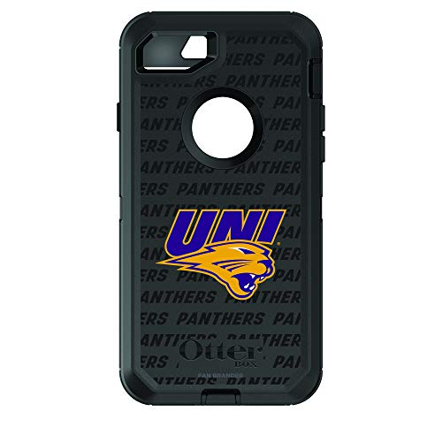 (Fan Brander NCAA Black Phone case with Repeating Wordmark Design, Compatible with Apple iPhone 8 and Apple iPhone 7 with OtterBox Defender Series (Northern Iowa Panthers))